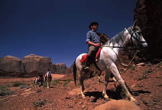 horse riding in wadi rum desert jordan