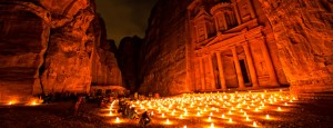 Petra by night, treasury and candles