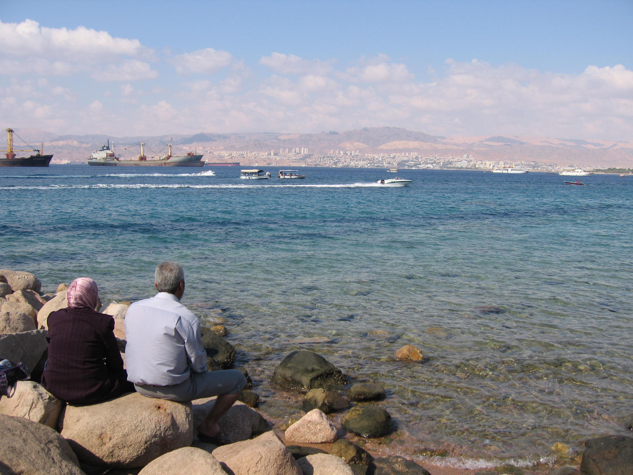 aqaba, view of red sea, boats