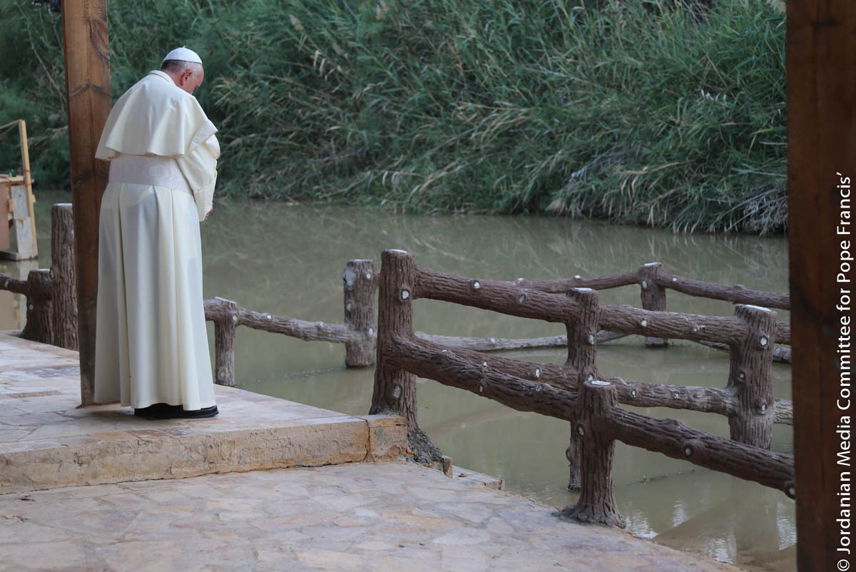 pope at bethany, river jordan