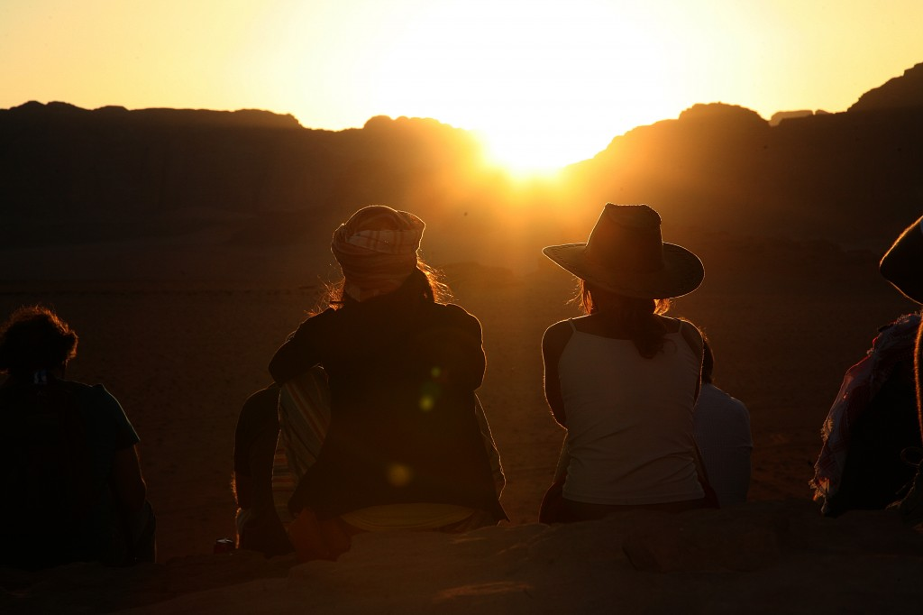 watching the sunset in Wadi Rum Jordan