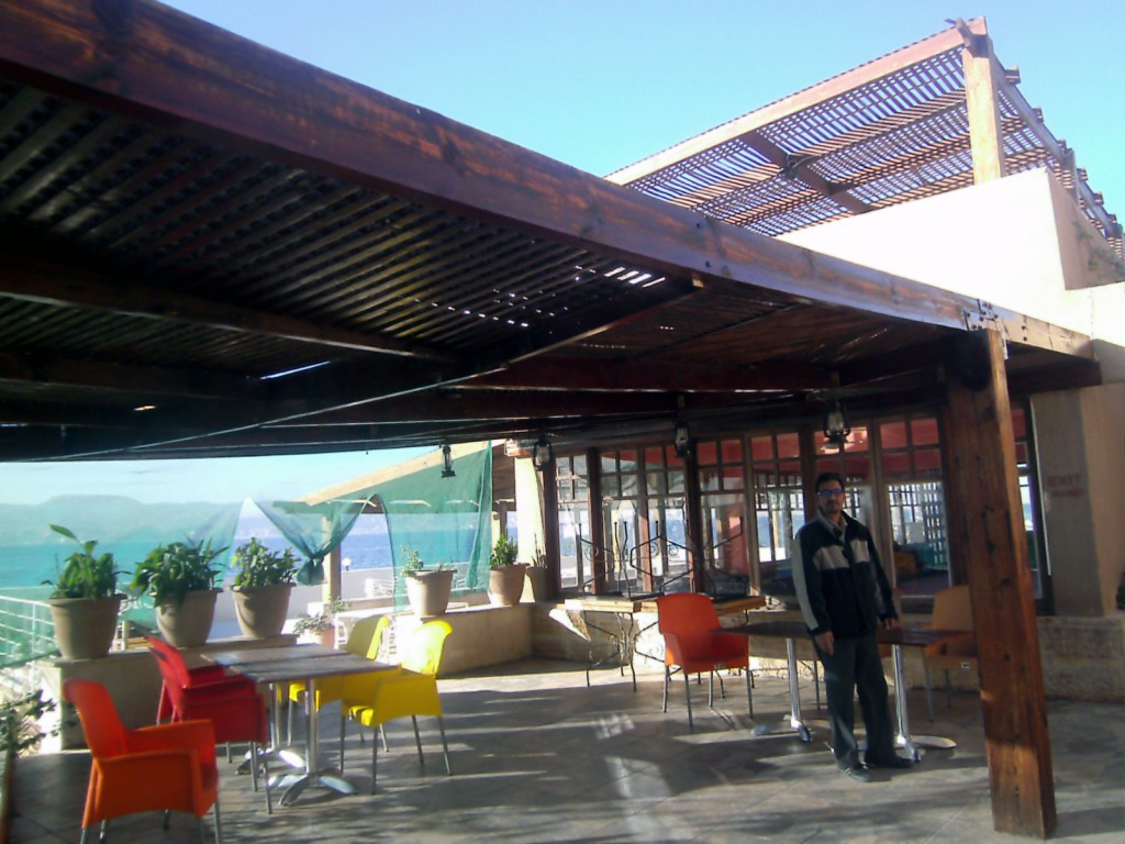 new varnish on terrace at Club Murjan, Aqaba, Jordan