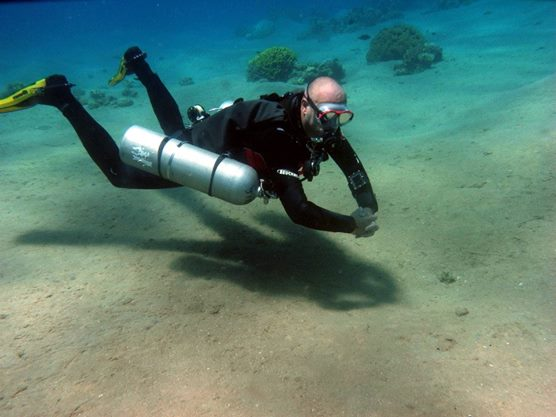 side mount diving in Aqaba, Jordan