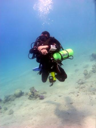 technical diver in Red Sea, Aqaba, Jordan