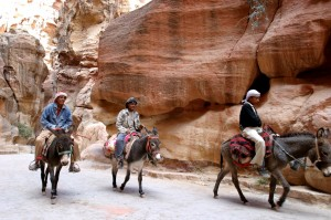 bedouins and donkeys in siq Petra jordan