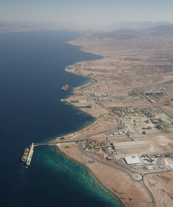 aerial view of the aqaba coastline, jordan