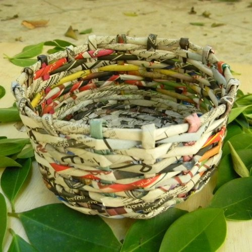 hand made basket made from recycled paper, aqaba jordan