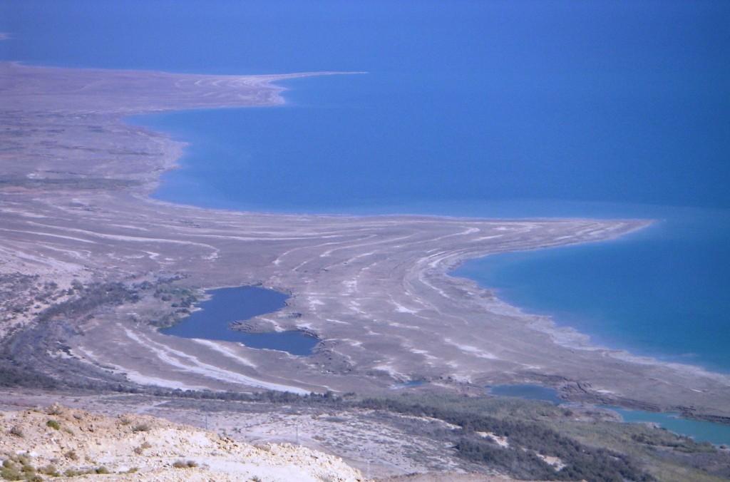 salt rings left as Dead Sea recedes