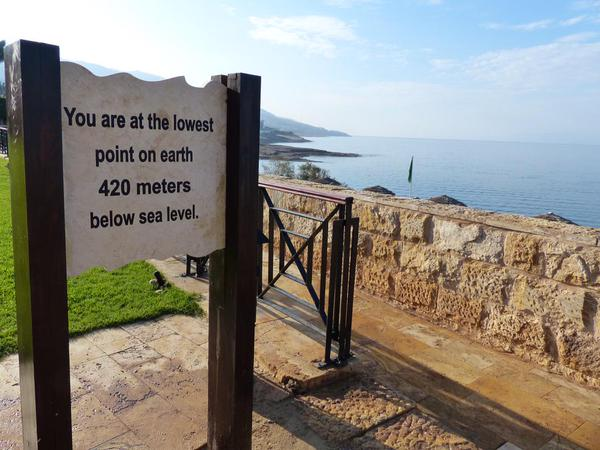 Lowest point on earth Dead Sea Jordan