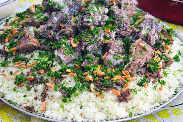 Jordan national dish, mansaf, lamb, rice, jameed, Jordan food