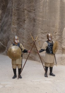 Petra - Nabataean soldiers at the beginning of As-Siq